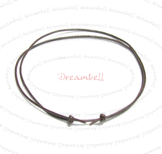 "1x Dark Brown leather cord 1mm adjustable Anklet Bracelet 9""-17\"""