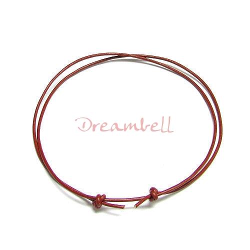 "1x Red leather cord 1mm adjustable Anklet Bracelet 9""-17\"""