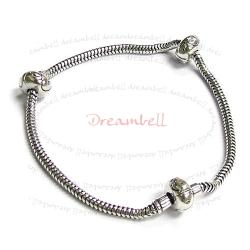 Sterling Silver 3mm SNAKE BRACELET for European Bead Charm w/ 2pcs clip stopper 19cm 7.5""