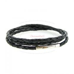 Stainless Steel 3 Round Black Bolo Braided Leather Cord 3mm Magnetic Wristband Bracelets 7""