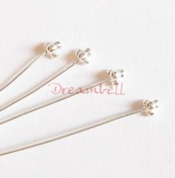10 Bright Sterling Silver Head pins Bali Ball dot Headpins 24GA 2""