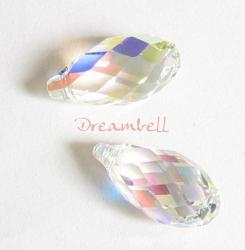 1x Swarovski Crystal Teardrop Briolette 6010 Clear AB 21mm