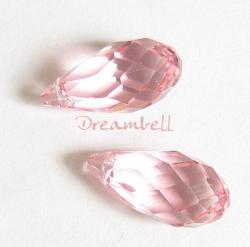 2x Swarovski Elements Crystal Teardrop Briolette 6010 Rose Pink 11mm