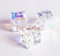2x Swarovski Elements Crystal 5601 Clear AB Cube Bead 8mm