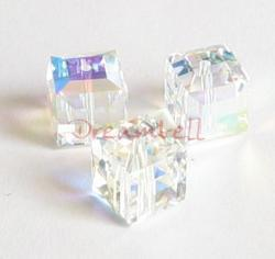 1x Swarovski Elements Crystal 5601 Clear AB Cube Bead 10mm