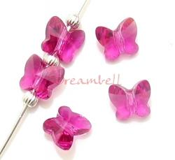 6 Swarovski Crystal 5754 Butterfly Beads 10mm FUCHSIA