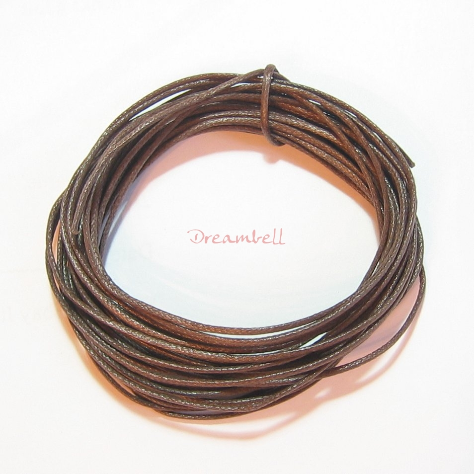 5 YARDS WAXED COTTON BEAD STRINGING CORD 1MM Brown