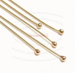 10x 14K Gold Filled Head pins DOT Ball Headpins Head pins 24ga 1""