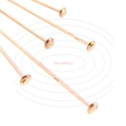 10x 14k Rose Gold Filled Headpins Head Pins 24ga 0.5mm 24 Gauge Round Wire 1.5""