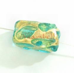 2x Fused Lampwork Bead Glass Gold Blue Ziron 16mm