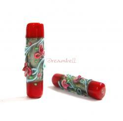 1x GARDEN CANDLE Fused Lampwork Glass Bead Tube silver Coral Red 36mm