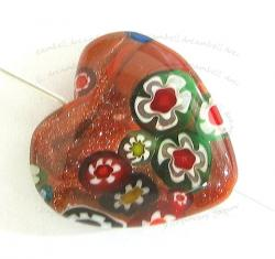 1x Murano Moretti Lampwork Flower Glass Heart Bead Gold Stone 20mm