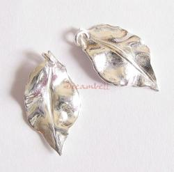 2x Sterling silver leaf Charm Pendant 10.1mmx 19.5 w/ Jump ring