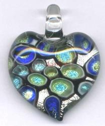 Huge Lampwork Fused Glass 999 Pure Silver Heart Pendant