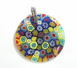Lampwork Fused Millefiori Glass Disc Pendant Blue 30mm