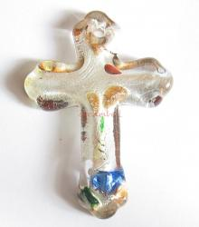 1x Encased Dichroic Lampwork Glass Cross Pendant Bead 48mm