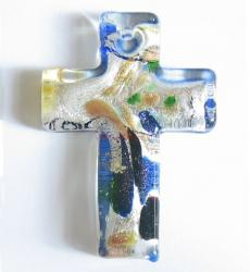 1x Encased Dichroic Lampwork Glass Cross Pendant Bead 50mm