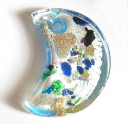 1x Encased Dichroic Lampwork Glass Moon Pendant Bead 35mm