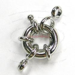 1 Rhodium plated Metal Jumbo Lobster Spring Clasp 13mm