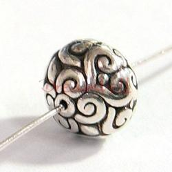 1x Bali Sterling Silver Round FLOWER Focal Bead 9.3mm