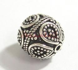 1x Bali Sterling Silver ROUND FLOWER DOTS Focal Bead 13mm