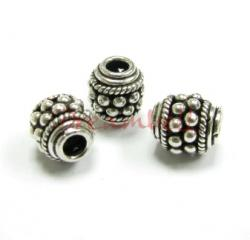 1x Bali Sterling Silver Focal Bead Spacer 8mm