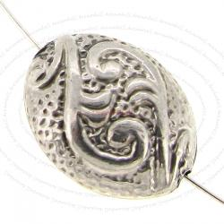 1x Bali Sterling Silver Oval Flower Focal Bead Spacer