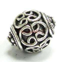 1x Bali Sterling Silver Round FLOWER Focal Bead 13mm