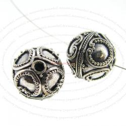 1x Bali Sterling Silver Round Flower Focal Bead 12mm