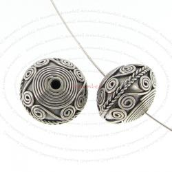 1x Bali Sterling Silver Flower Rondelle Focal Spacer Bead 12.5mm