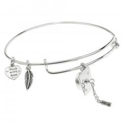925 Sterling Silver Graduation Hat Made with Love Heart Feather Dangle Charm Adjustable Wire Bangle Bracelet