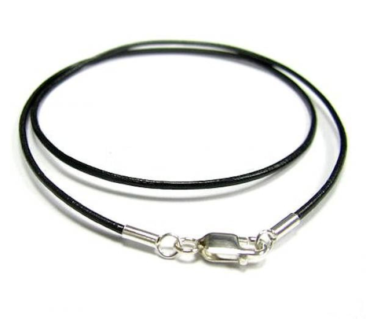 1x Sterling Silver Black leather cord 1mm choker necklace 16""