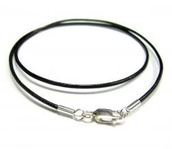 1x Sterling Silver Black leather cord 1mm choker necklace 20""