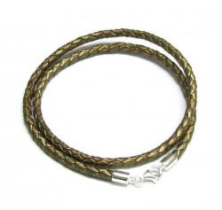 "Sterling Silver Bronze Bolo Braided leather 3mm choker necklace 18"" for European Bead Charms"