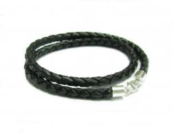 "Sterling Silver Black Braided leather cord 3mm choker necklace 16"" for European Bead Charms"