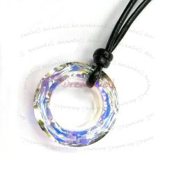 "Ring Pendant Black Leather 1mm Necklace 16"" Adjustable Using Swarovski Elements Crystal"