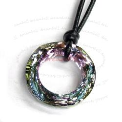 "Vitrail Light Twist Pendant 28mm Black Leather 1mm Necklace 16"" Adjustable Using Swarovski Elements Crystal"