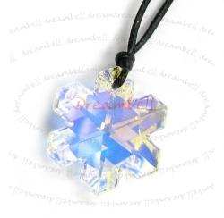 Clear AB Snowflake Pendant 25mm Black Leather 1mm Necklace Adjustable Using Swarovski Elements Crystal