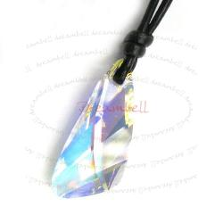 Clear AB Wing Pendant 27mm Black Leather 1mm Necklace Adjustable Using Swarovski Elements Crystal