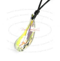 Clear AB Artistic Teardrop Charm Pendant 38mm Black Leather 1mm Necklace Adjustable Using Swarovski Elements Crystal