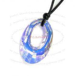 Clear AB Helios Pendant 30mm Black Leather 1mm Necklace Adjustable Using Swarovski Elements Crystal