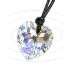 Clear AB Heart Pendant 18mm Black Leather 1mm Necklace Adjustable Using Swarovski Elements Crystal