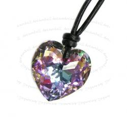 Vitrail Light AB Heart Pendant 18mm Black Leather 1mm Necklace Adjustable Using Swarovski Elements Crystal