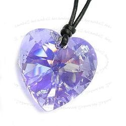 Violet AB Heart Pendant 28mm Black Leather 1mm Necklace Adjustable Using Swarovski Elements Crystal