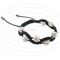 Black Macrame Knotted Shamballa Clear CZ Crystal Hematite Ball Bead Adjustable Wristband Bracelet 7.5""