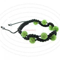 Black Macrame Knotted Shamballa Green Peridot CZ Crystal Hematite Ball Bead Adjustable Wristband Bracelet 8""