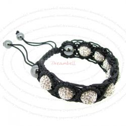 Black Macrame Knotted Shamballa Clear CZ Crystal Hematite Ball Bead Adjustable Wristband Bracelet 7""