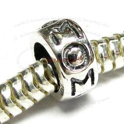 1x Sterling Silver MOM Mother Bead for European Charm Bracelets