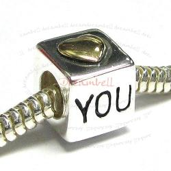 14K Gold Plated Sterling Silver HEART LOVE YOU Cube enamel Bead for European Charm Bracelets