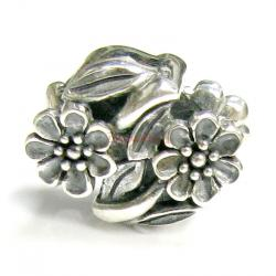 Sterling Silver Flower Leaves Bead for European Charm Bracelets